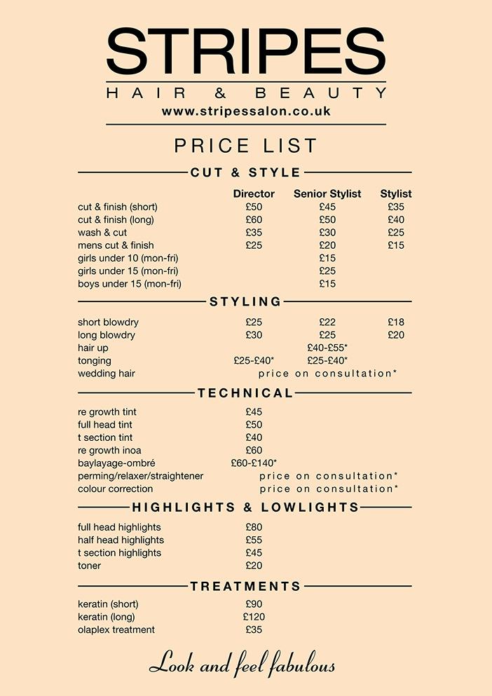 Hair Salon Price Lists Awesome Hair Salon Price List Winchmore Hill Stripes Hair Salon