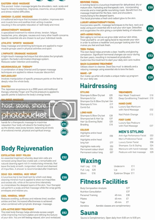 Hair Salon Price Lists Awesome Thomson Spirit Oceans Spa & Beauty Hair Salon Current