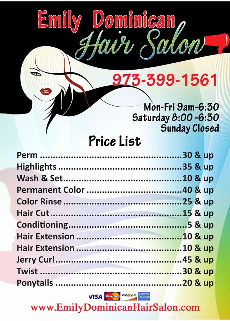 Hair Salon Price Lists Beautiful Emily Dominican Hair Salon