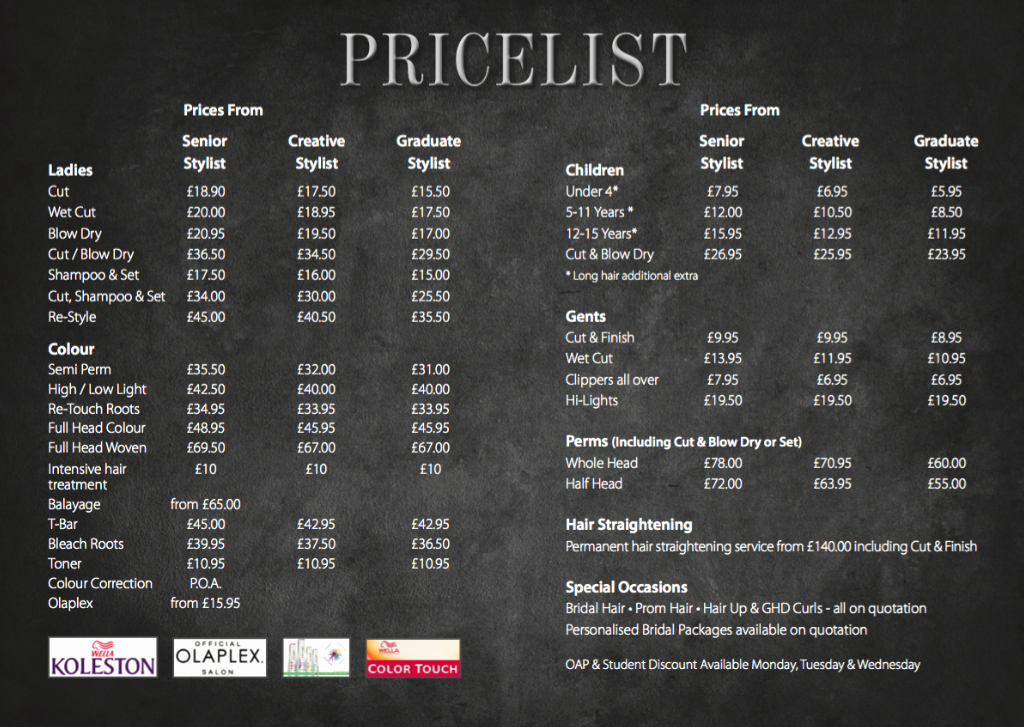 Hair Salon Price Lists Beautiful Envy Hair & Beauty Price List