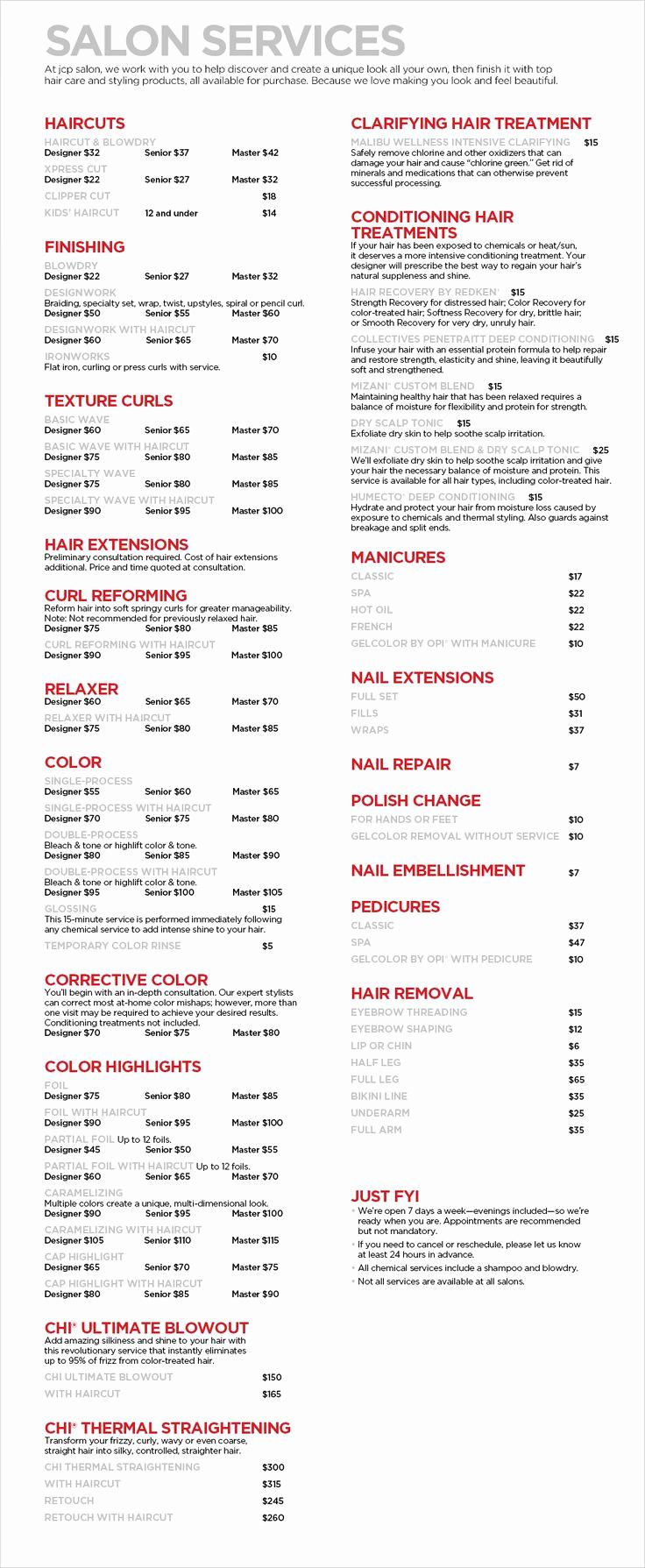 hairdresser price list