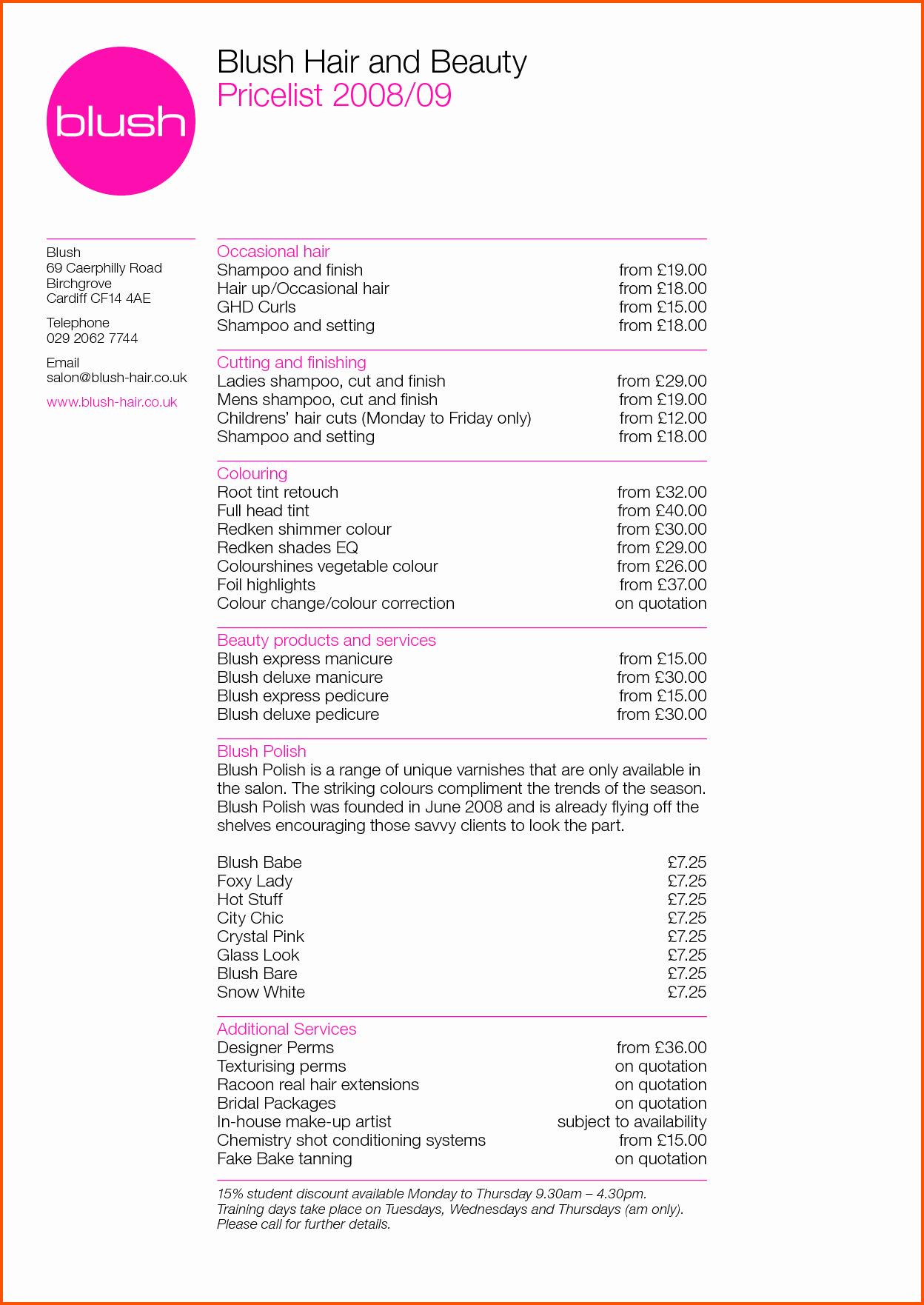 Hair Salon Price Lists Fresh Resume Price List
