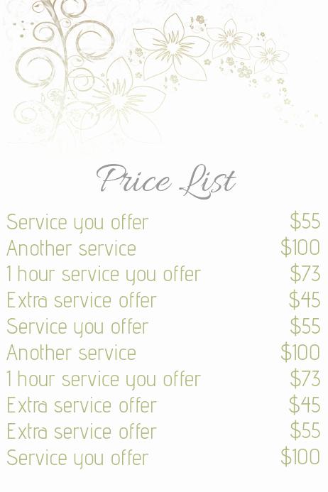 Hair Salon Price Lists Inspirational Beauty Salon Price List Template
