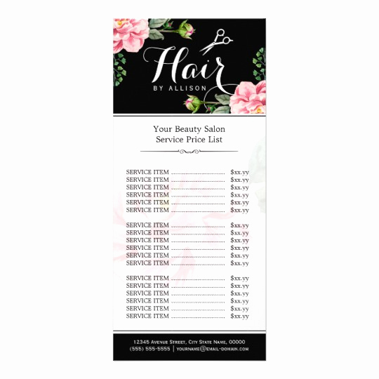 Hair Salon Price Lists Inspirational Floral Hair Stylist Modern Beauty Salon Price List Rack