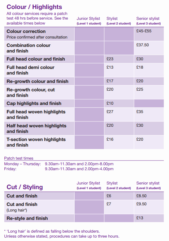 Hair Salon Price Lists Inspirational Hairdressing Prices