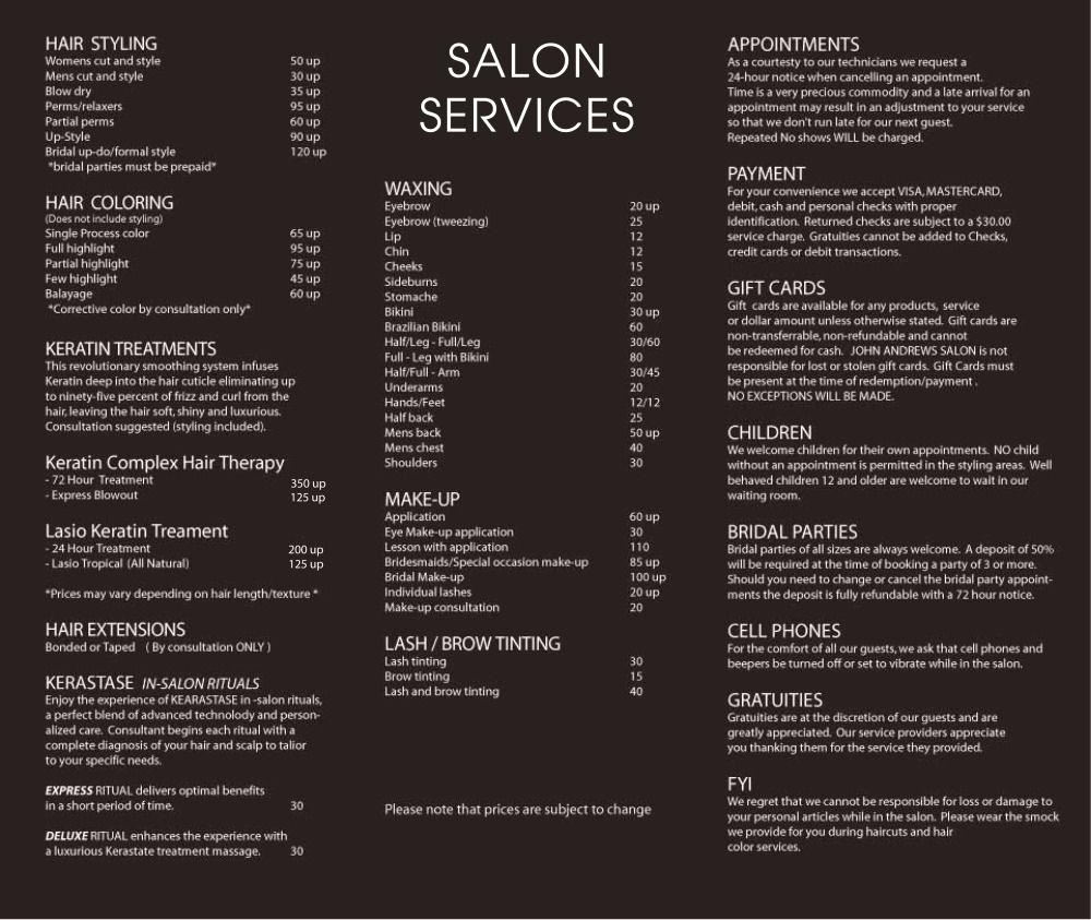 Hair Salon Price Lists Lovely John andrews Salon Services … Salon Life