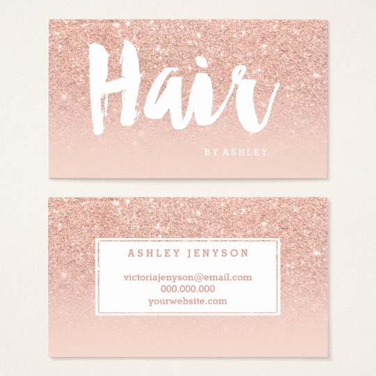 Hair Stylist Business Cards Unique Hair Stylist Modern Typography Blush Rose Gold Business