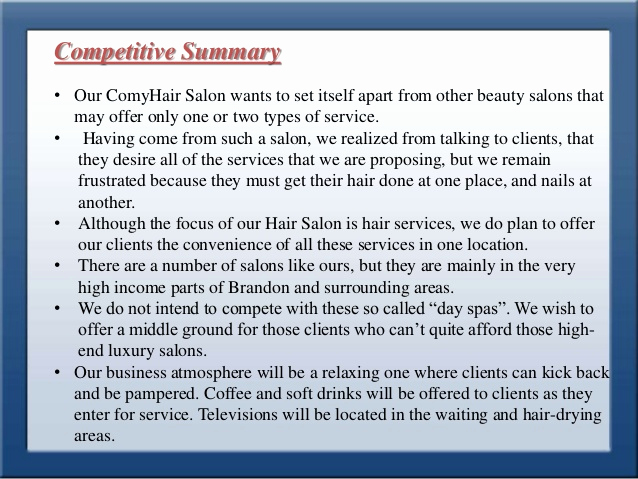 Hairdressing Salon Business Plan Awesome Business Plan for Style Park Hair Saloon