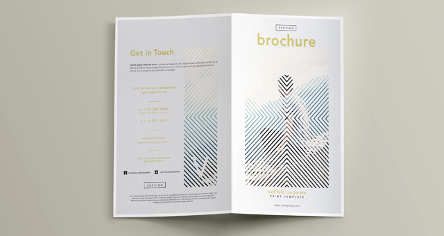 Half Fold Brochure Template Elegant Vertigo Bi Fold Brochure Template