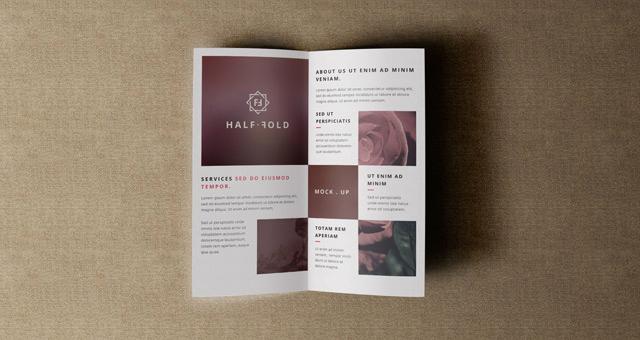 Half Fold Brochure Template Luxury Psd Bi Fold Mockup Template Vol4