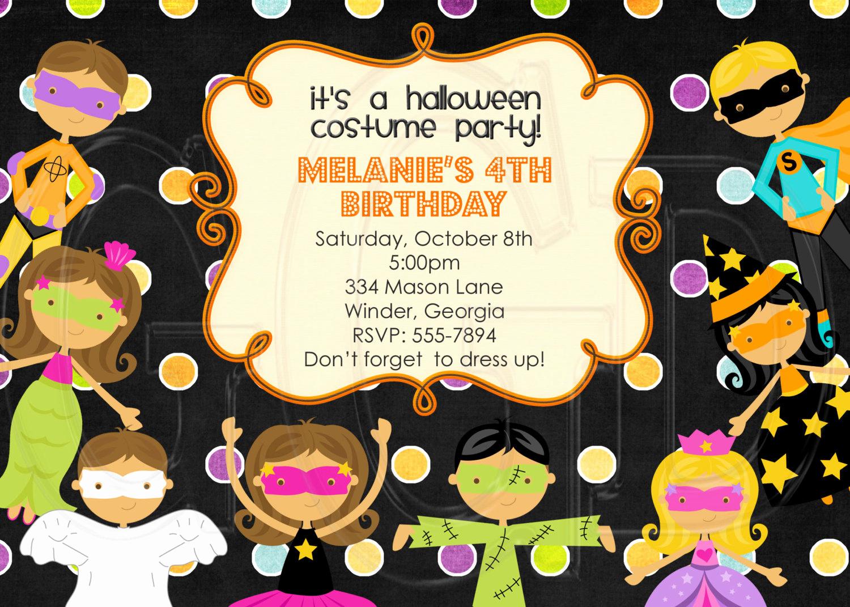 Halloween Birthday Party Invitations Elegant Halloween Costume Kids Party Birthday Invitation Digital File