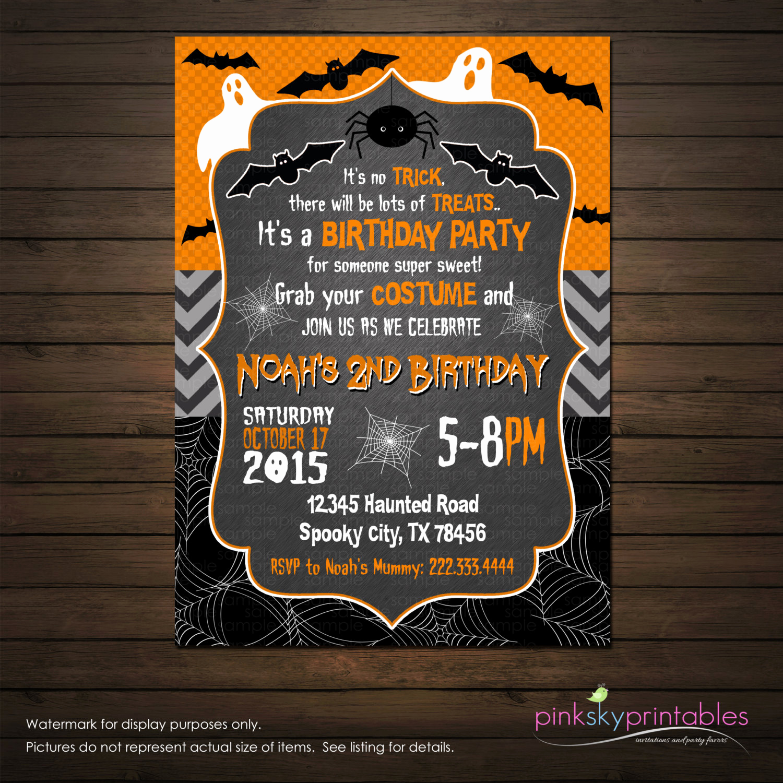 Halloween Birthday Party Invitations Fresh Halloween Birthday Invitation Printable File Ghosts and