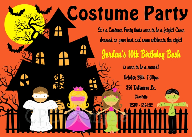 Halloween Costume Party Invitations Printable or Printed p 1869