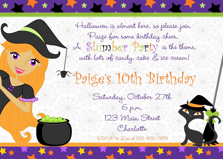 Halloween Birthday Party Invitations Lovely Halloween Party Invitation Halloween Slumber Party