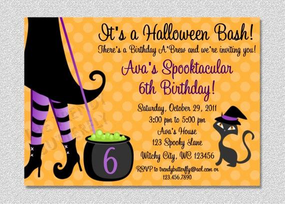 Halloween Birthday Party Invitations Luxury Halloween Witch Costume Party Birthday Invitation
