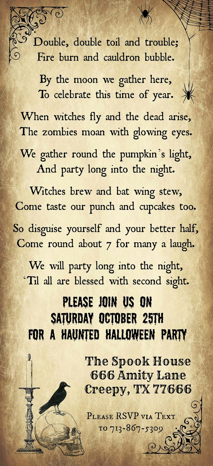 Halloween Birthday Party Invitations New Crafty In Crosby Halloween Party Invitation 2014