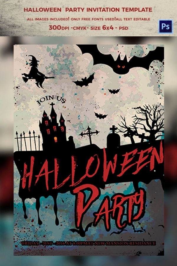 Halloween Party Invitation Template Awesome 35 Halloween Invitation Free Psd Vector Eps Ai