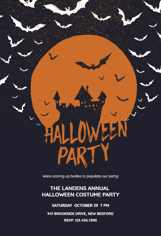 Halloween Party Invitation Templates Awesome Haunted House Halloween Party Invitation Template Free