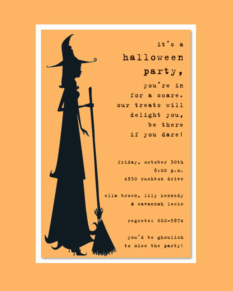 Halloween Party Invitations Template Best Of Scary Silhoutte Witch Halloween Party Invitation Template