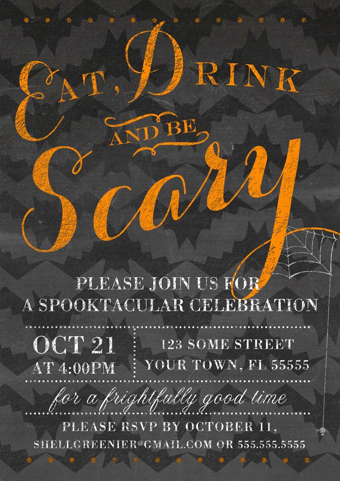Halloween Party Invitations Templates Inspirational Chalkboard Halloween Party Invitation Eat Drink and Be