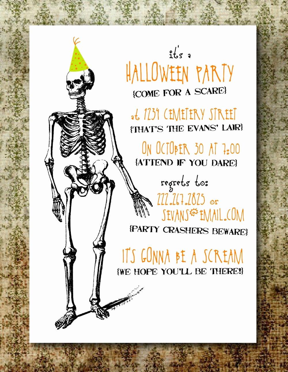 Halloween Party Invitations Templates Inspirational Printable Spooky Halloween Party Invitation