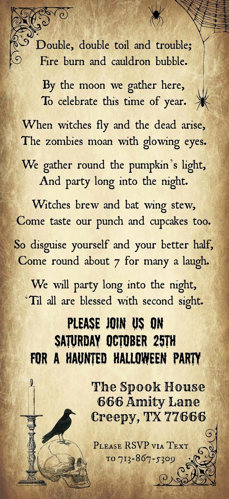 Halloween Party Invitations Templates Unique Crafty In Crosby Halloween Party Invitation 2014