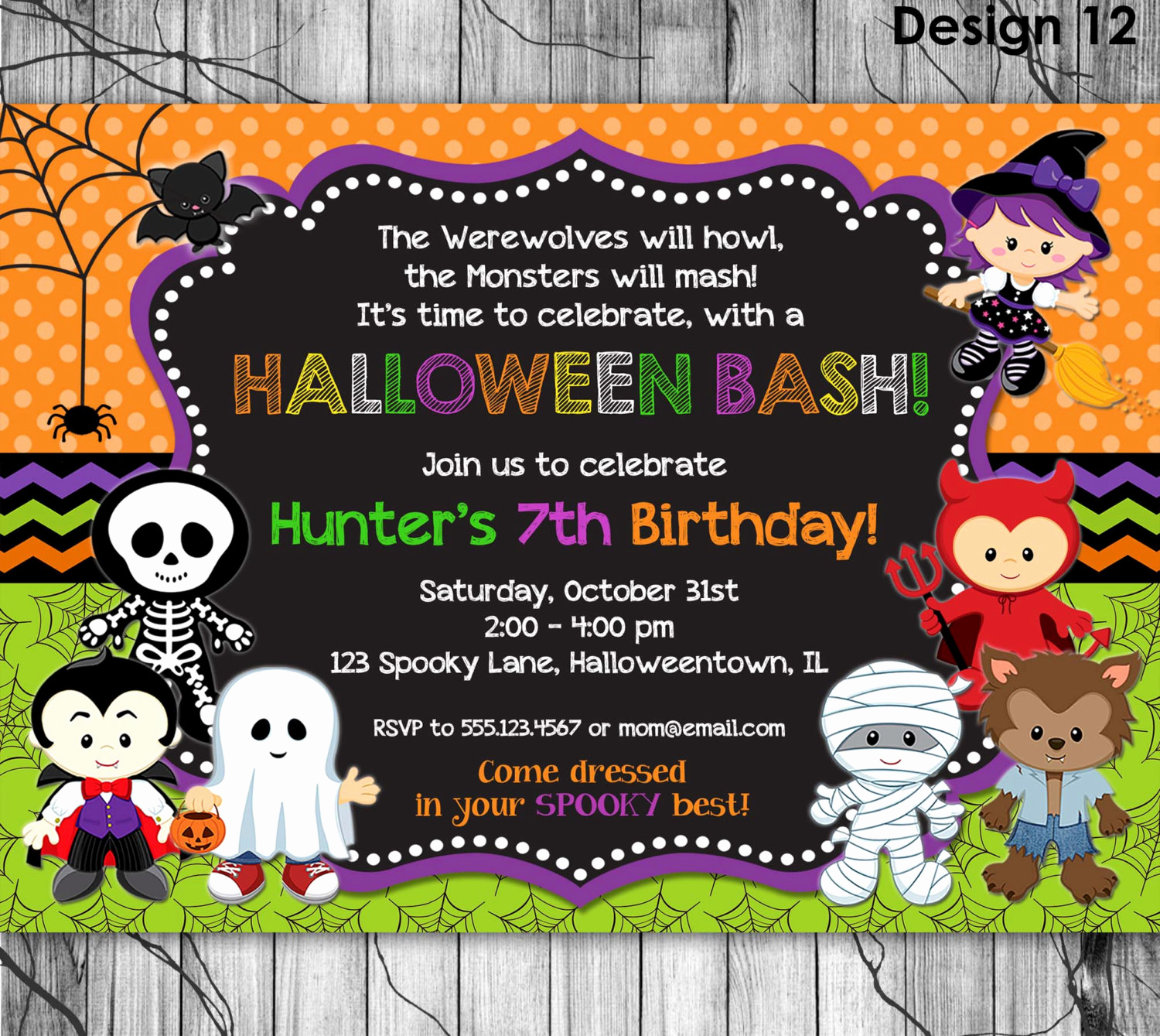 halloween birthday invitation printable