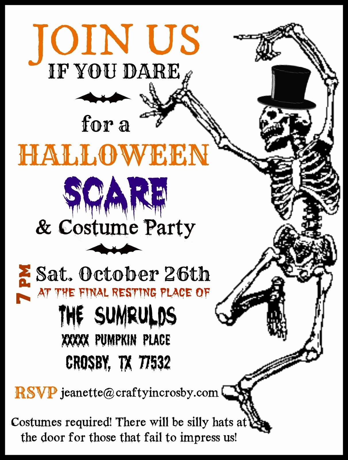 Halloween Party Invite Template Inspirational Crafty In Crosby Halloween Party Invitations with Template