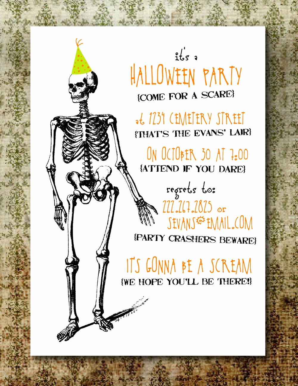 Halloween Party Invite Template Unique Printable Spooky Halloween Party Invitation