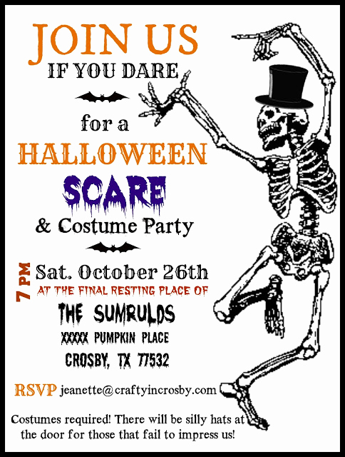 Halloween Party Invites Templates Awesome Crafty In Crosby Halloween Party Invitations with Template
