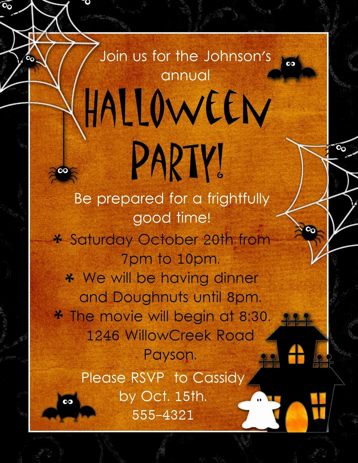 Halloween Party Invites Templates Elegant Halloween Invitation Template Free