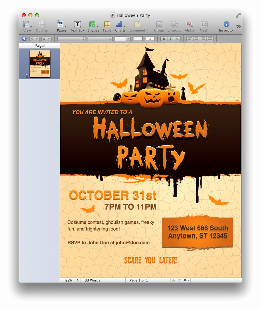 Halloween Party Invites Templates Lovely Halloween Party Invitation for Pages Mactemplates