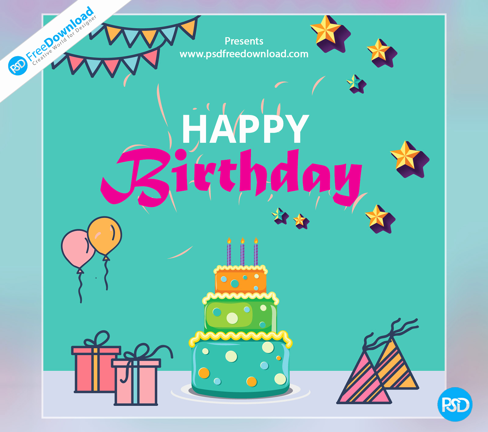 Happy Birthday Card Template Elegant Happy Birthday Template Greeting Card Psd Free Download