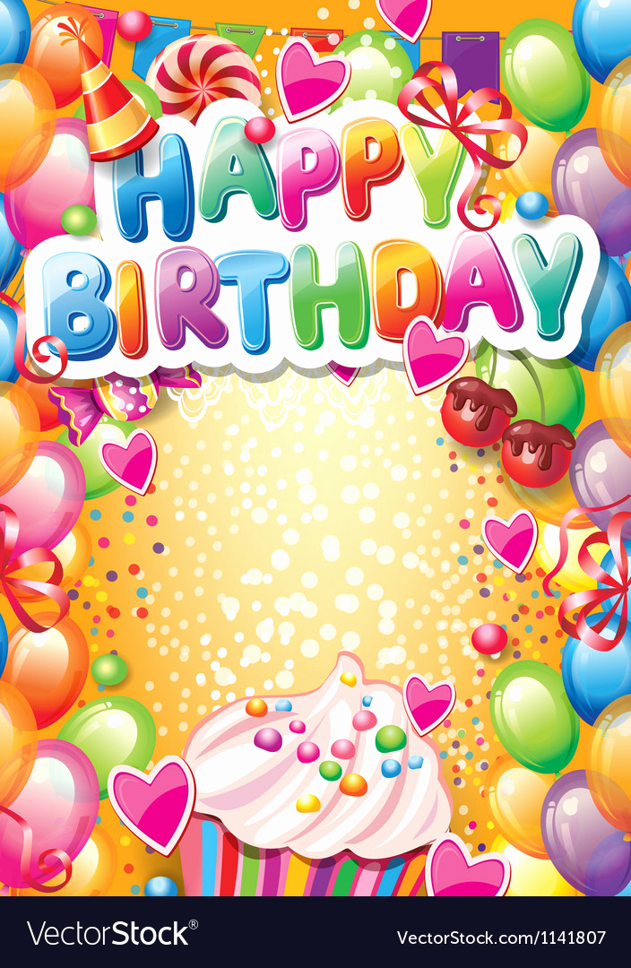 Happy Birthday Card Template Inspirational Template for Happy Birthday Card with Place for Vector Image