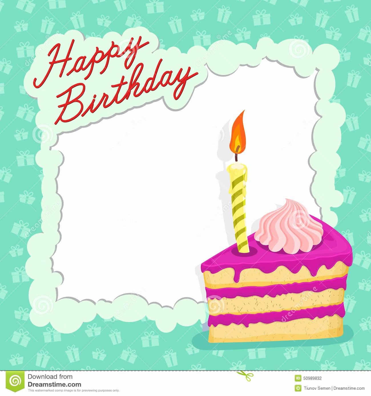 Happy Birthday Card Template New Happy Birthday Cake Card Stock Vector Illustration Of