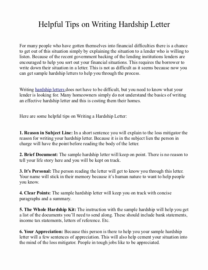 Hardship Letter for Mortgage Fresh Helpful Tips On Writing Hardship Letter