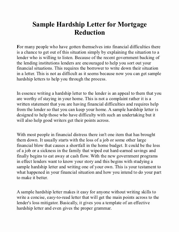 Hardship Letter for Mortgage Luxury Sample Hardship Letter for Mortgage Reduction
