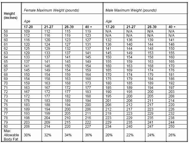 Height and Weight Chart Army Awesome Body Position and Nutrition Armystudyguide