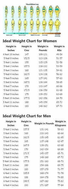 Height to Weight Ration Chart New Height to Weight Chart