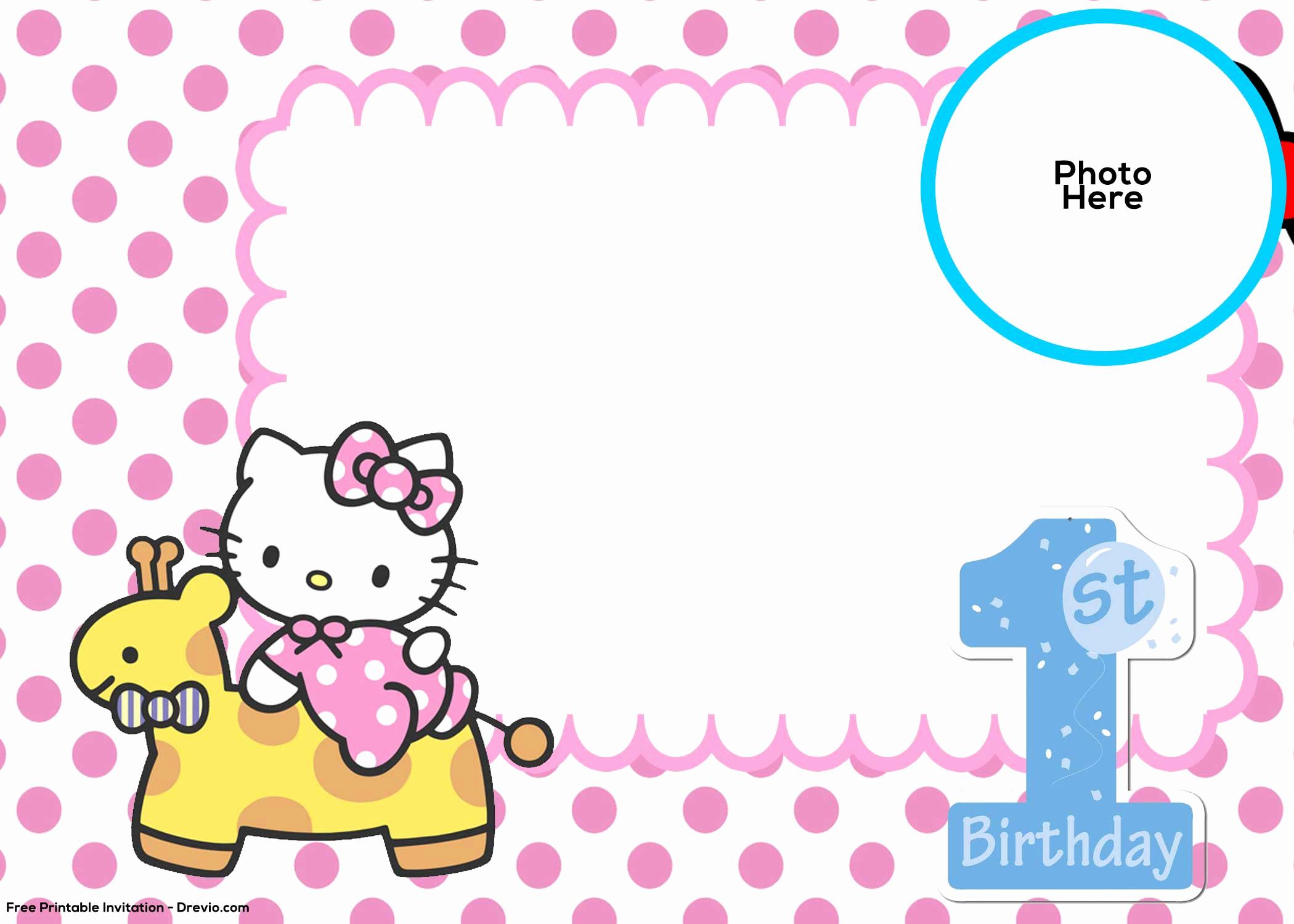 Hello Kitty Bday Invitations Beautiful Free Hello Kitty 1st Birthday Invitation Template