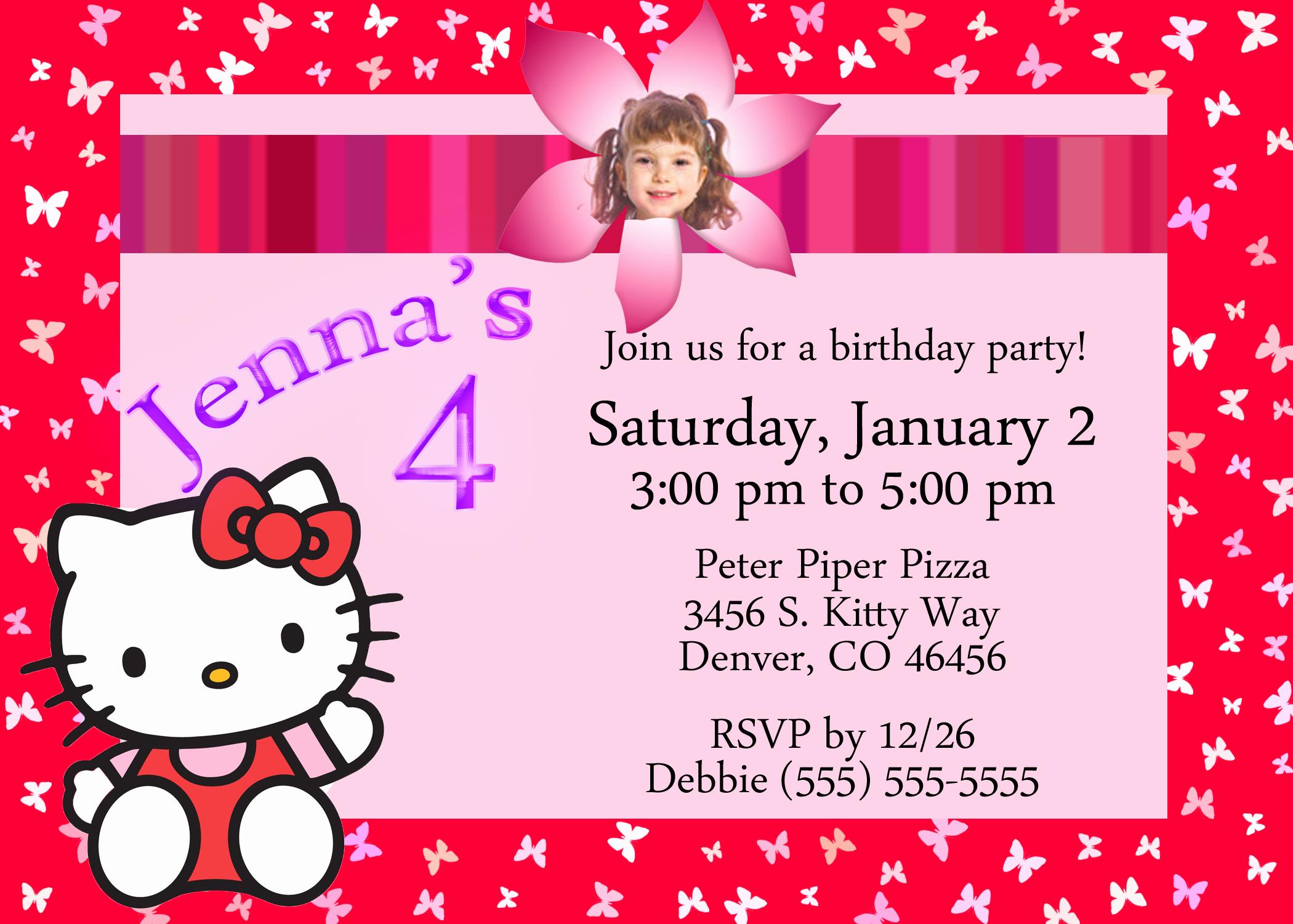 Hello Kitty Bday Invitations Beautiful Hello Kitty Birthday Invitation