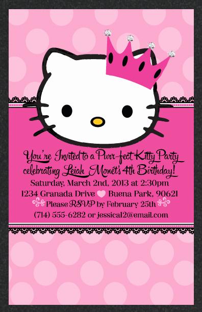 Hello Kitty Bday Invitations Best Of Hello Kitty Princess Birthday Invitation Hello Kitty