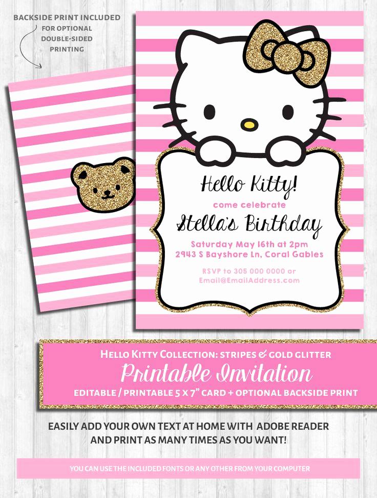 Hello Kitty Bday Invitations Elegant 25 Best Ideas About Hello Kitty Invitations On Pinterest