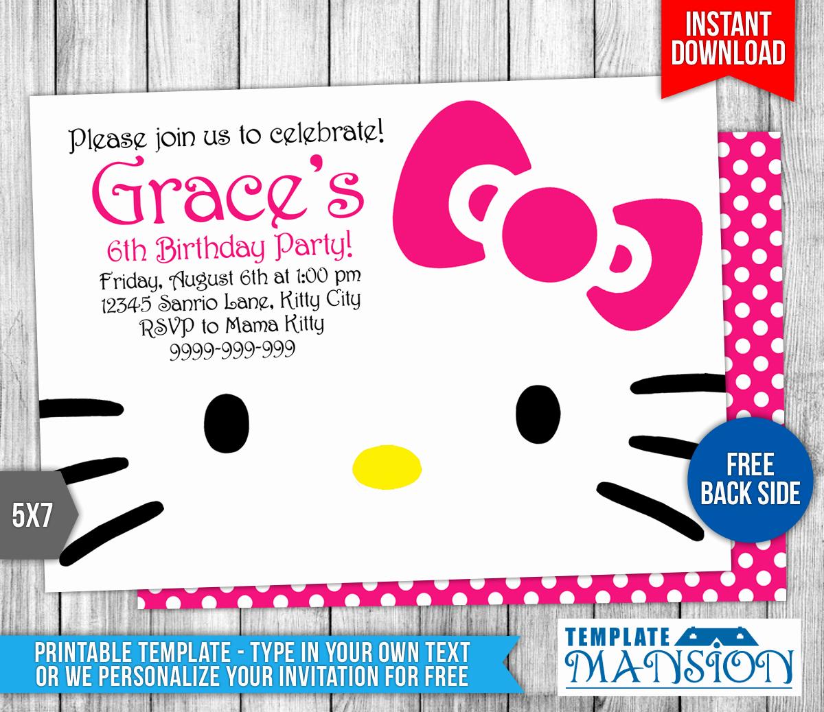 Hello Kitty Bday Invitations Elegant Hello Kitty Birthday Invitation by Templatemansion On