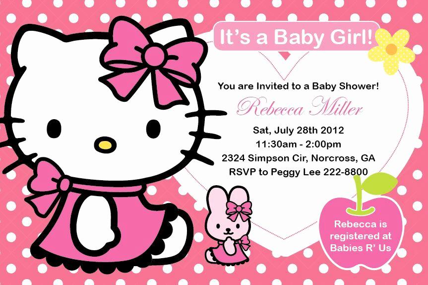 Hello Kitty Bday Invitations Elegant Hello Kitty Girl Birthday Party or Baby Shower Custom