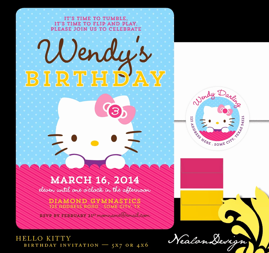 Hello Kitty Bday Invitations Elegant Nealon Design Hello Kitty Birthday Invitation
