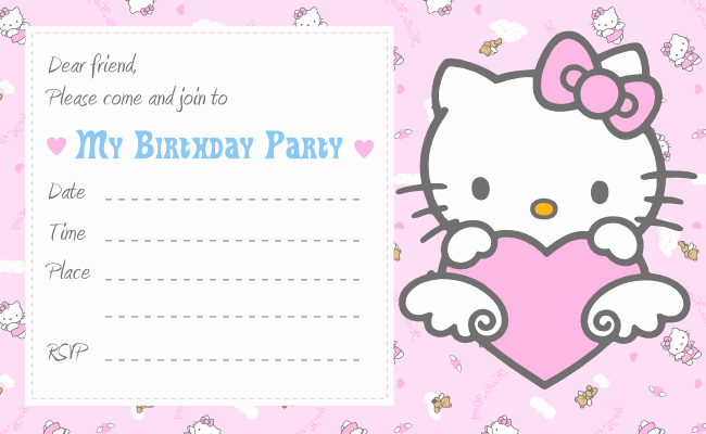 Hello Kitty Bday Invitations Fresh Hello Kitty Printable Birthday Invitations Template