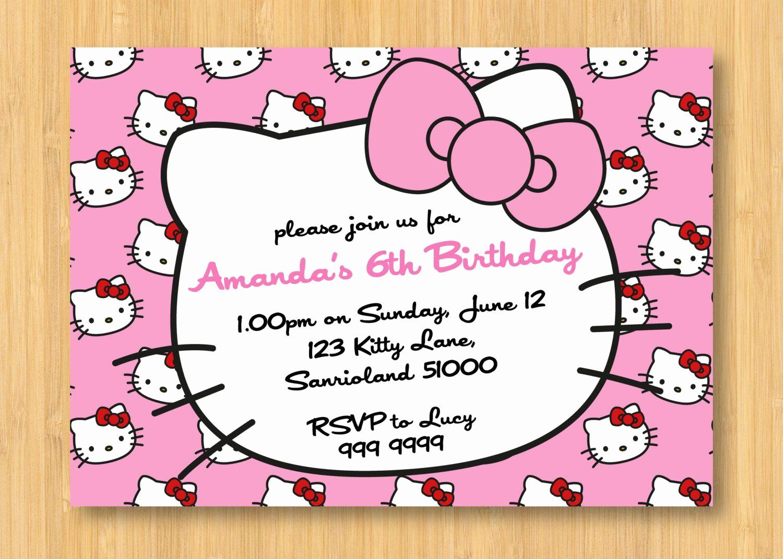 Hello Kitty Bday Invitations Inspirational Hello Kitty Birthday Invitations Printable Free