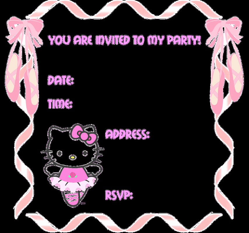 hello kitty blank party invitations