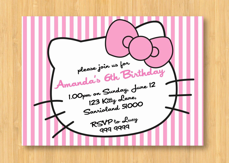 Hello Kitty Bday Invitations Unique Hello Kitty Printable Birthday Party Invitation